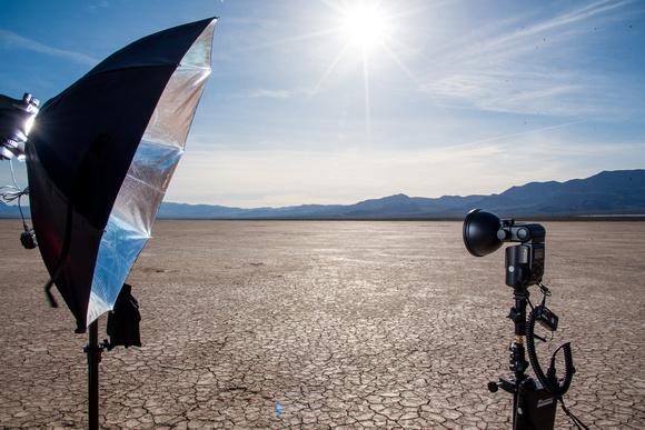 El Dorado dry lake bed with photo equipment set up.