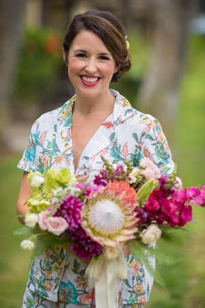 Dramatic tropical bouquet with bright colors and large tropical flowers
