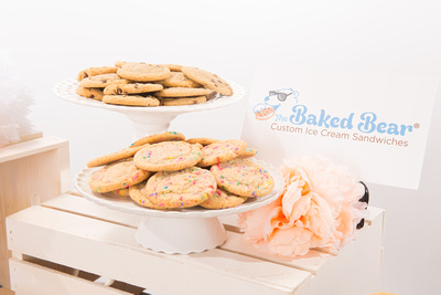 Yummy cookies ready to become custom ice cream sandwiches for  a wedding dessert by the baked bear in San Diego, CA.