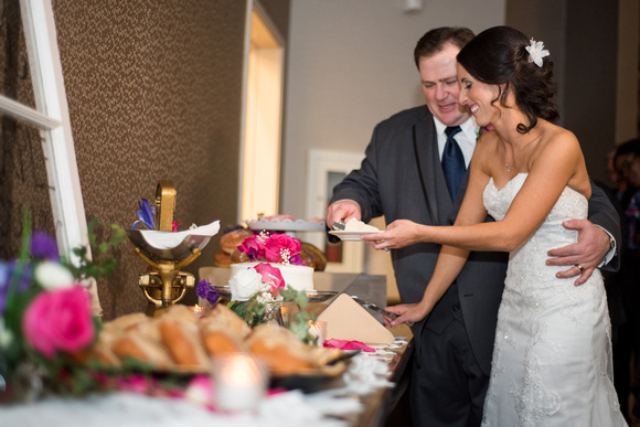 Bride and groom cutting their cute mim wedding cake in the ballroom at Twin Oaks Golf Resort.