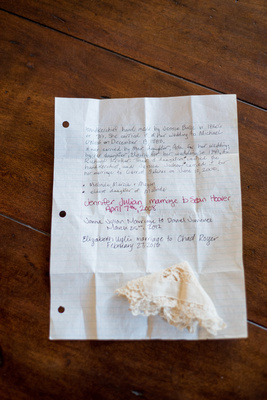 A handwritten letter describing the brides who have walked down the aisle with this keepsake handkerchief.