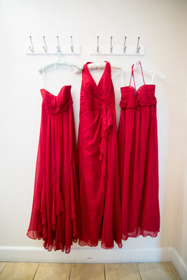 Bridesmaids' dresses hanging in the bridal changing room at Wedgewood Fallbrook.
