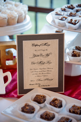 Marriage certificate dessert table decoration.